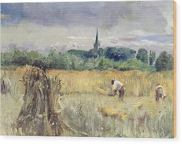 Harvest Field At Stratford Upon Avon Wood Print by John William Inchbold