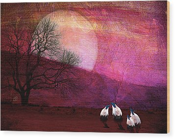 Wood Print featuring the digital art Harvest Moon Sheep by Jean Moore