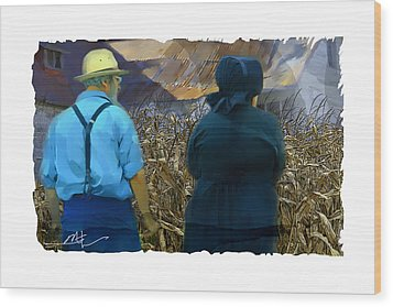 Harvesting The Corn Wood Print by Bob Salo