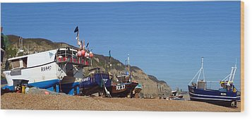 Hastings Fishing Fleet Wood Print by Sharon Lisa Clarke