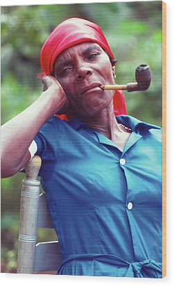 Hatian Woman With A Red Scarf And A Pipe Wood Print