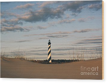 Hatteras Lighthouse And The Smiling Dune Wood Print by Tony Cooper