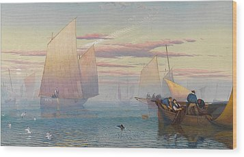 Hauling In The Nets Wood Print by JB Pyne