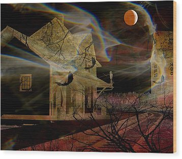 Haunted Evening Wood Print by Shirley Sirois