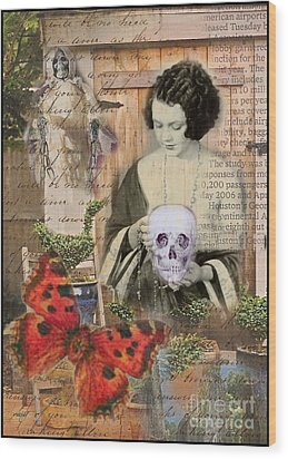Haunted Garden Wood Print by Ruby Cross