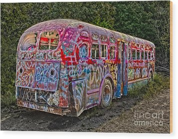 Haunted Graffiti Bus II Wood Print by Susan Candelario