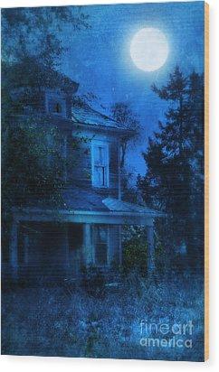 Haunted House Full Moon Wood Print by Jill Battaglia