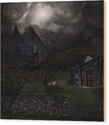 Haunted House Wood Print by Lisa Evans