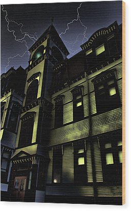 Haunted House Wood Print by Mark Sellers