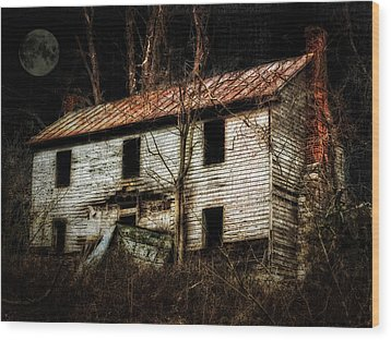 Haunted House On The Hill Wood Print by Kathy Jennings