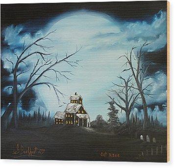 Hauted Mansion 2005  Wood Print by Shawna Burkhart