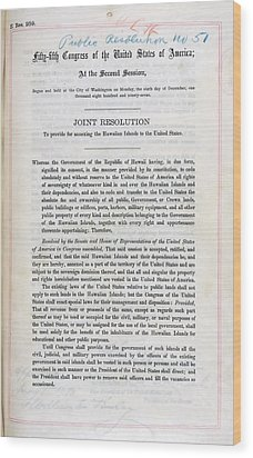 Hawaii. Joint Resolution To Provide Wood Print by Everett