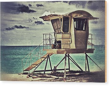 Wood Print featuring the photograph Hawaii Life Guard Tower 1 by Jim Albritton