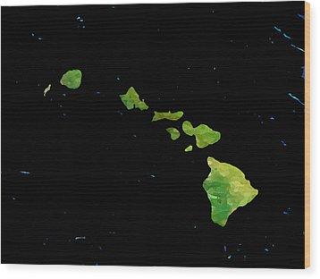 Wood Print featuring the digital art Hawaiian Islands Chain by Karen Nicholson