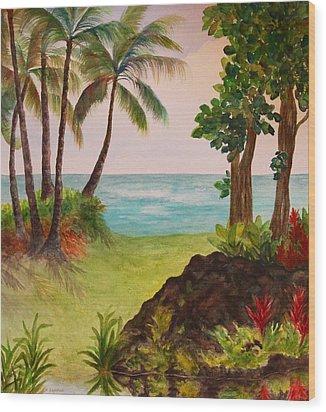 Hawaiian Oceanside Wood Print by Kerri Ligatich