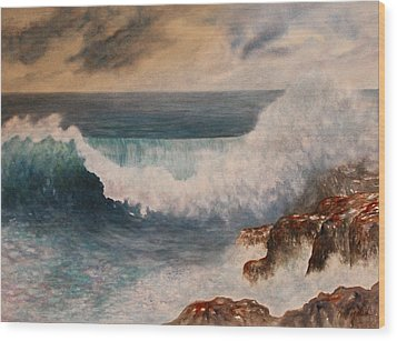 Wood Print featuring the painting Hawaiian Wave by Kerri Ligatich