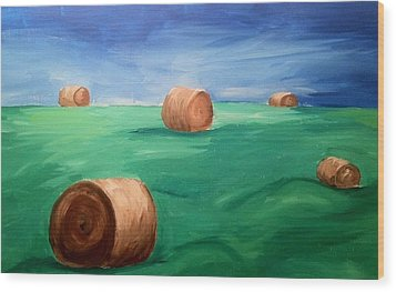 Hay Bails Wood Print
