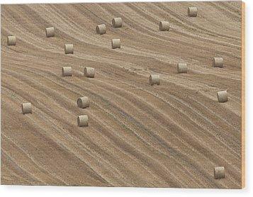 Hay Bales Wood Print by Chris Brocklebank