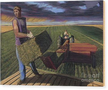 Hay Boys Wood Print by Christian Vandehaar
