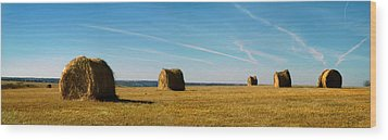 Wood Print featuring the photograph Haybales And Jet Trails by Rod Seel