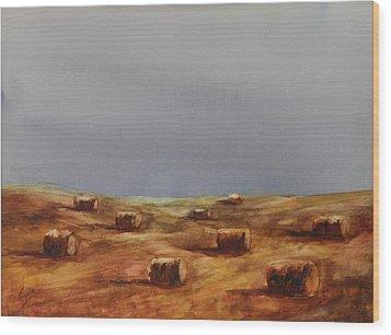 Hayfield Wood Print by Ruth Kamenev