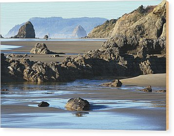 Haystack Rock From Arcadia Beach Wood Print by Steven A Bash