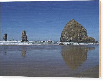 Haystack Rock Wood Print by Jerry Cahill