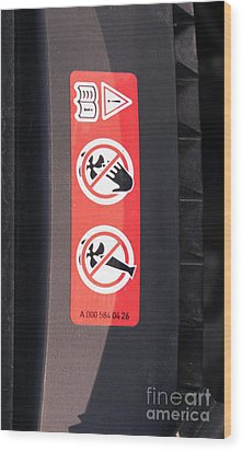 Hazard Warning Sticker Wood Print by Photo Researchers