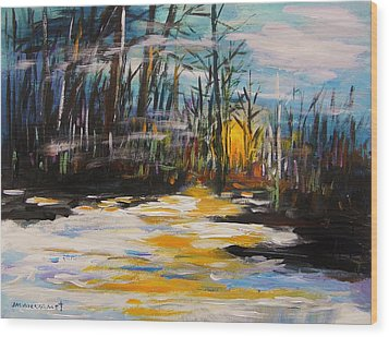 Hazy Nightfall Wood Print by John Williams