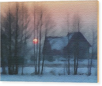 Hazy Winter Morning Wood Print by Anthony Caruso