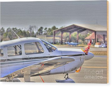 Hdr Airplane Looks Plane From Afar Under Canopy Wood Print by Pictures HDR