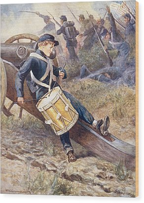 He Crawled Behind A Cannon And Pale And Paler Grew Wood Print by William Henry Charles Groome