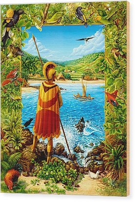 He Hula Ali'i Wood Print by Anne Wertheim