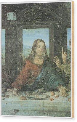 Head Of Christ Detail From The Last Supper Wood Print by Leonardo Da Vinci