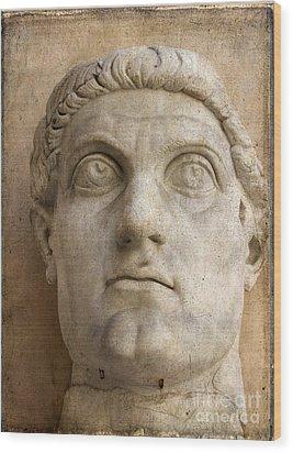 Head Of Emperor Constantine. Rome. Italy Wood Print by Bernard Jaubert