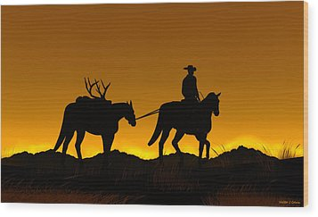 Wood Print featuring the digital art Heading Home by Walter Colvin