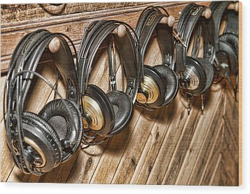 Wood Print featuring the photograph Headphones by Kim Wilson