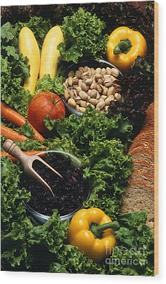 Healthy Foods Wood Print by Photo Researchers