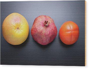 Healthy Fruits On Dark Wooden Background Wood Print by daitoZen