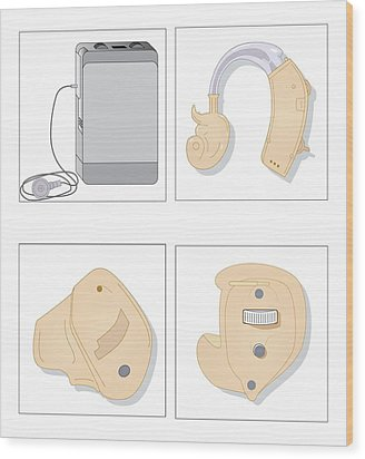Hearing Aids, Artwork Wood Print by Peter Gardiner