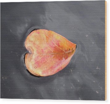 Wood Print featuring the painting Heart - Leaf by Teresa Beyer