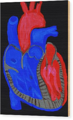 Wood Print featuring the painting Heart A Glow by Lisa Brandel
