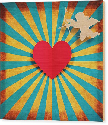 Heart And Cupid On Paper Texture Wood Print by Setsiri Silapasuwanchai