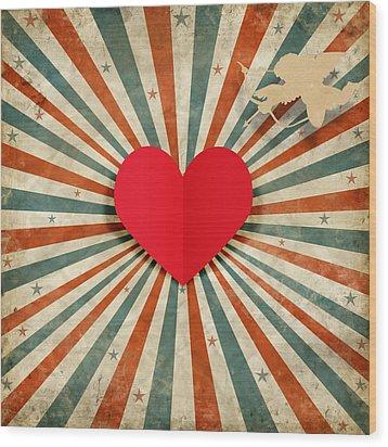 Heart And Cupid With Ray Background Wood Print by Setsiri Silapasuwanchai