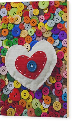 Heart Buttons Wood Print by Garry Gay