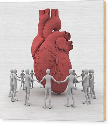 Heart Care, Conceptual Image Wood Print by Pasieka