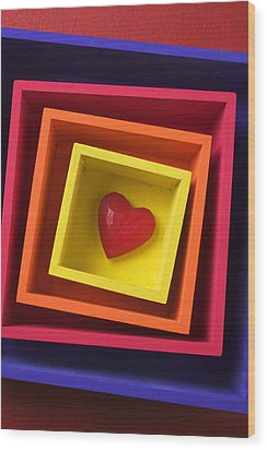 Heart In Boxes  Wood Print by Garry Gay