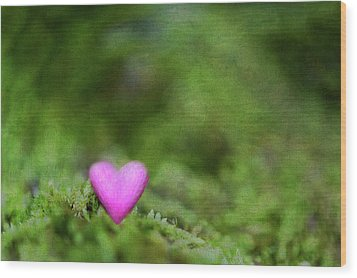 Heart In Moss Wood Print by Alexandre Fundone