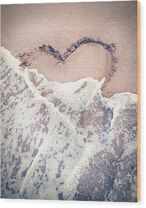 Heart In The Sand Wood Print by Nastasia Cook