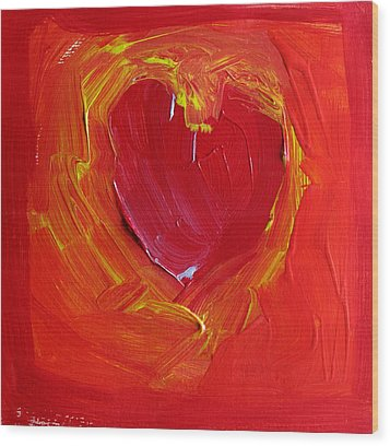 Heart Of Cupids Joy At The Moment Of Transformation Dripping Oozing Love When Pierced With Open Fear Wood Print by ImQueer AndLoveIt